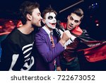 halloween party. a guy in a... | Shutterstock . vector #722673052