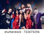 halloween party. six friends in ... | Shutterstock . vector #722673256