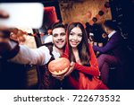 halloween party. a guy in a... | Shutterstock . vector #722673532
