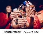 halloween party. three girls in ... | Shutterstock . vector #722675422