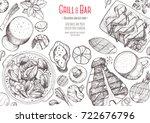 grill and bar menu design... | Shutterstock .eps vector #722676796
