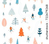 ski seamless pattern with... | Shutterstock .eps vector #722679268