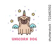 cute dog of pug breed in a... | Shutterstock .eps vector #722682502