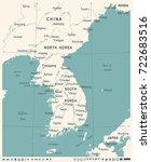 korean peninsula map   vintage...