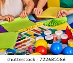 school children with scissors... | Shutterstock . vector #722685586