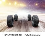 four automobile wheels rush on... | Shutterstock . vector #722686132