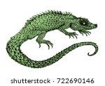 vector image a big green lizard   Shutterstock .eps vector #722690146