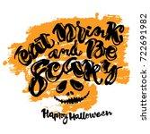 halloween lettering poster ... | Shutterstock . vector #722691982