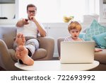the cute little son who... | Shutterstock . vector #722693992
