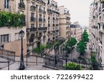 typical montmartre staircase in ... | Shutterstock . vector #722699422