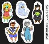 halloween set of monster girls  ...   Shutterstock .eps vector #722716492