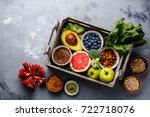 healthy food clean eating... | Shutterstock . vector #722718076