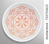 decorative plate with round... | Shutterstock .eps vector #722722612
