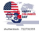 happy columbus day national usa ... | Shutterstock .eps vector #722731555