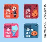 halloween sale posters set...   Shutterstock .eps vector #722732515