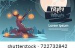 happy halloween party banner... | Shutterstock .eps vector #722732842