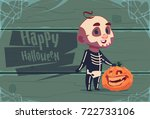 cute kid wear skull costume ... | Shutterstock .eps vector #722733106
