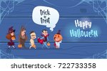cute kids wear monsters costume ... | Shutterstock .eps vector #722733358