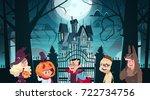 happy halloween banner holiday... | Shutterstock .eps vector #722734756
