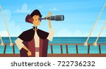 man on ship with spyglass happy ... | Shutterstock .eps vector #722736232