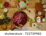 mixing vegetables in a clay... | Shutterstock . vector #722739982