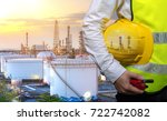 engineers holding safety yellow ... | Shutterstock . vector #722742082