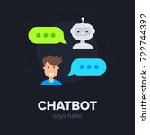 chatbot concept. cute smiling... | Shutterstock .eps vector #722744392