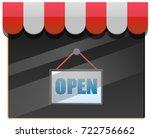 open sign on store window... | Shutterstock .eps vector #722756662