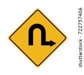 u turn sign on white background.... | Shutterstock .eps vector #722757406