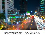 blurred traffic night in city... | Shutterstock . vector #722785702