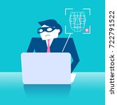 business man with face... | Shutterstock .eps vector #722791522