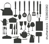 kitchen utensils icons | Shutterstock .eps vector #722802082