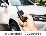 close up hand holding a car key ...   Shutterstock . vector #722804956