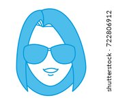 young woman with sunglasses... | Shutterstock .eps vector #722806912
