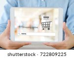 hand holding tablet with www.... | Shutterstock . vector #722809225