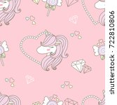 cute head unicorn and pearl... | Shutterstock .eps vector #722810806