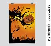 happy halloween poster. vector...   Shutterstock .eps vector #722812168