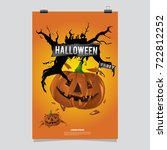 happy halloween poster. vector... | Shutterstock .eps vector #722812252