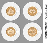cup of coffee and saucer  top...   Shutterstock .eps vector #722818162