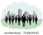 silhouettes of businesspeople... | Shutterstock .eps vector #722824552
