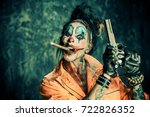 crazy evil clown man stained in ... | Shutterstock . vector #722826352