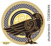 raven hand drawn in celtic... | Shutterstock .eps vector #722838646