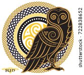 owl hand drawn in celtic style  ... | Shutterstock .eps vector #722838652