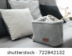 knitted basket with yarn and... | Shutterstock . vector #722842132