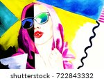 colorful sunglasses. watercolor ... | Shutterstock . vector #722843332