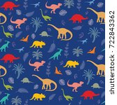 seamless pattern with dinosaur... | Shutterstock .eps vector #722843362