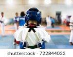 taekwondo kids with head guard... | Shutterstock . vector #722844022