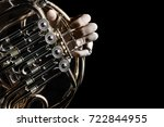 French Horn Instrument. Hands...