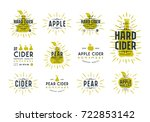 set of hard cider label and... | Shutterstock .eps vector #722853142