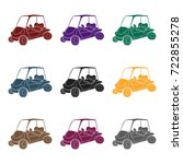 golf cart icon in black style... | Shutterstock .eps vector #722855278